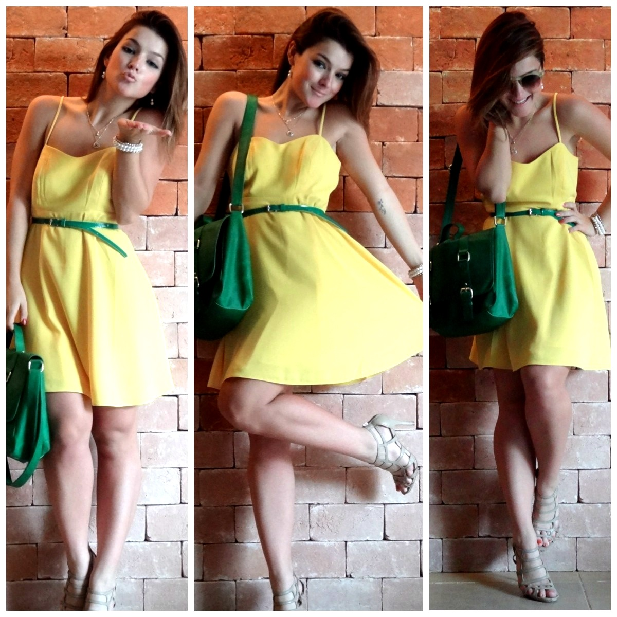Vestido verde amarelo azul e branco