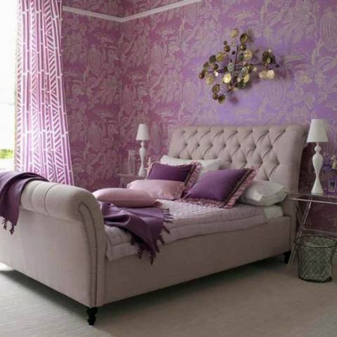 Lavender-Wall-Paper-Bedroom-Decor