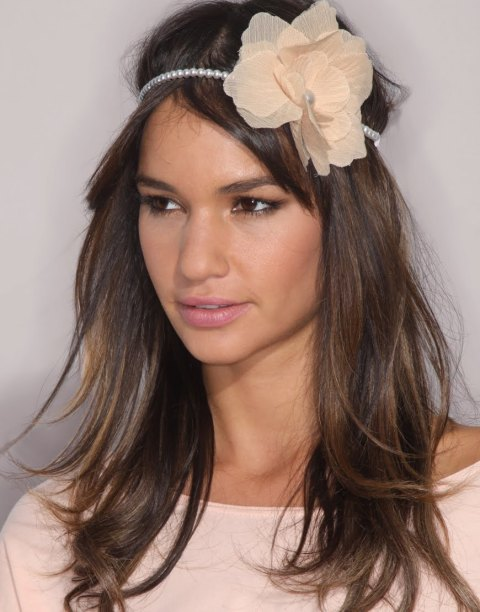 tulle flowers on pearl headband
