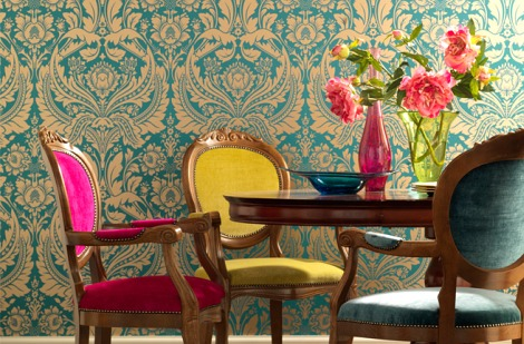 turquoise-figural-motifs-wallpaper-decor1